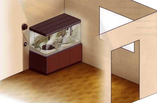 Правильное расположение аквариума в комнате дома